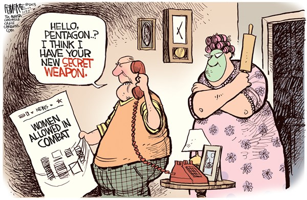 Rick McKee - The Augusta Chronicle - SECRET WEAPON - English - women in military, secret weapon