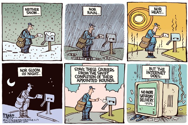 Saturday Delivery © Rick McKee,The Augusta Chronicle,Postal Service,snow,rain,heat,gloom of night,Saturday delivery,Post Office