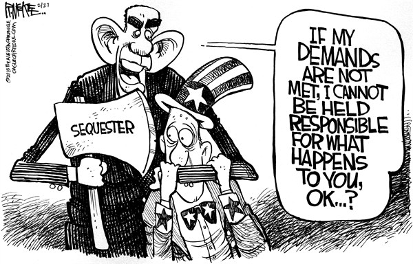 Rick McKee - The Augusta Chronicle - Sequester Ax - English - Sequester, sequestration, ax, spending cuts, Obama