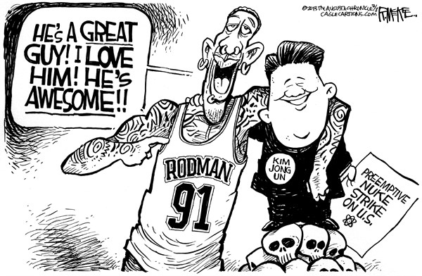 Rick McKee - The Augusta Chronicle - Rodman and Kim Jong Un - English - Dennis Rodman, Kim Jong Un, North Korea, nuclear weapons, nukes
