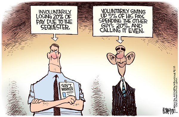 Rick McKee - The Augusta Chronicle - Sequester Pay Cut COLOR - English - Sequester, Government workers, Federal workers, Obama, furlough