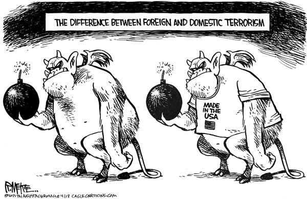 Rick McKee - The Augusta Chronicle - Foreign vs Domestic Terrorism - English - terrorism, foreign, domestic