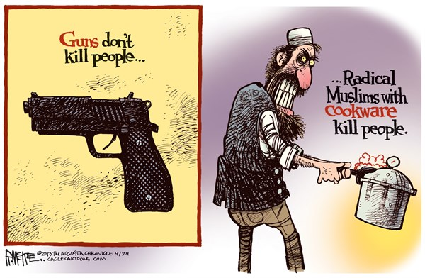 Rick McKee - The Augusta Chronicle - Radical Muslim Cookware COLOR - English - Radical Muslim, Radical Islam, terrorism, terror, Boston Marathon, bombing