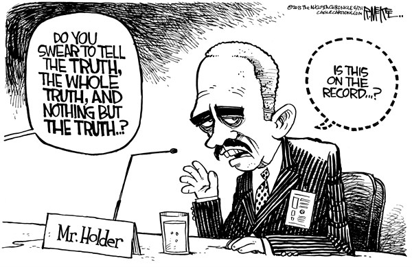 Rick McKee - The Augusta Chronicle - Holder Off The Record - English - Eric Holder, Attorney General, AP phone records, Department of Justice, leaks