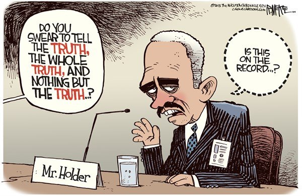 Rick McKee - The Augusta Chronicle - Holder Off The Record COLOR - English - Eric Holder, Attorney General, AP phone records, Department of Justice, leaks