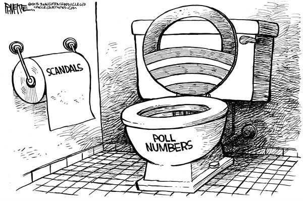 Rick McKee - The Augusta Chronicle - Obama Toilet - English - Obama, toilet, scandals, AP Phone Records, Benghazi, IRS, Tea Party, conservative groups, polls, poll numbers
