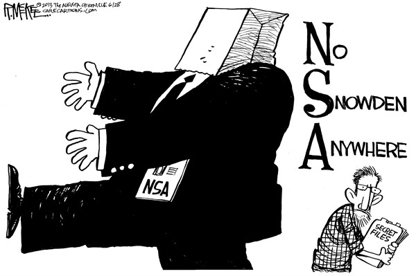 Rick McKee - The Augusta Chronicle - No Snowden Anywhere - English - NSA, Snowden