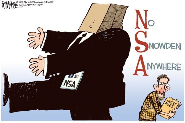 No Snowden Anywhere © Rick McKee,The Augusta Chronicle,NSA, Snowden