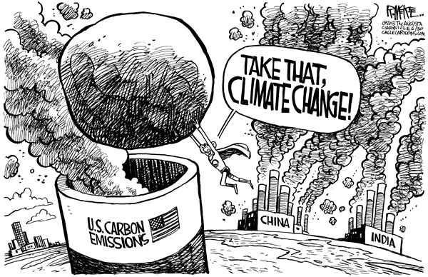 Rick McKee - The Augusta Chronicle - Obama Climate Plan - English - Obama, Climate change, global warming, carbon emissions, China, India