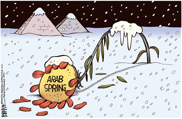 Rick McKee - The Augusta Chronicle - Arab Spring Frozen COLOR - English - Arab Spring, Egypt, coup