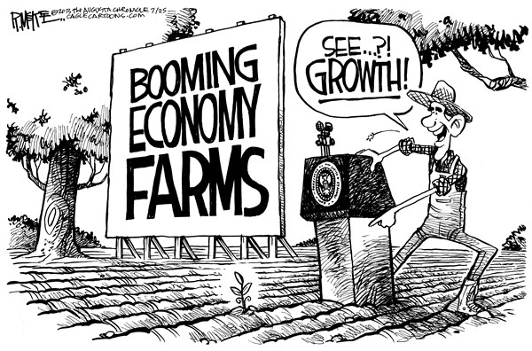 Rick McKee - The Augusta Chronicle - Obama Farms - English - Obama, Economy, growth, pivoting