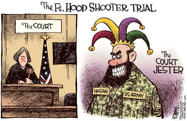 Ft Hood Court Jester © Rick McKee,The Augusta Chronicle,Fort Hood, Ft Hood, Nidal Hasan