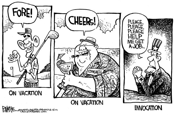 Rick McKee - The Augusta Chronicle - On Vacation - English - Obama, Congress, vacation, jobs, unemployment