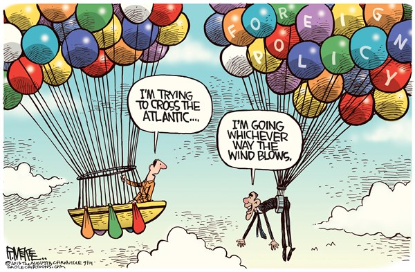 Rick McKee - The Augusta Chronicle - Obama Foreign Policy COLOR - English - Obama, foreign policy, balloons, Syria, Russia, mideast
