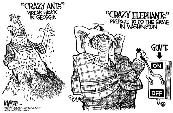 Rick McKee - The Augusta Chronicle - Crazy Elephants - English - Ted Cruz, GOP, Republicans, government shutdown, defund, Obamacare