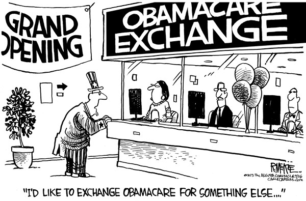 Rick McKee - The Augusta Chronicle - Obamacare Exchange - English - Obamacare, exchange, health care