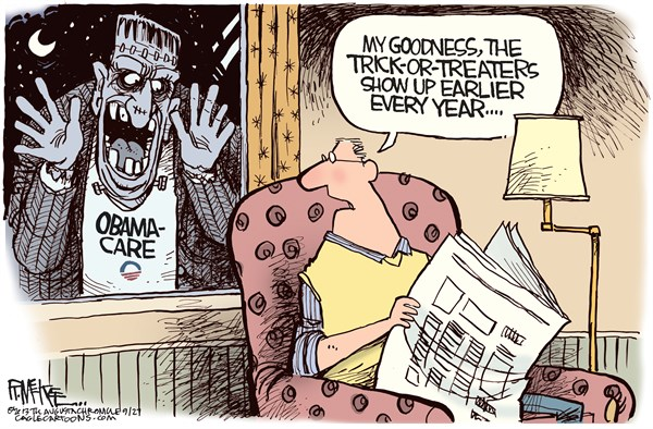 Rick McKee - The Augusta Chronicle - Obamascare COLOR - English - Obamacare, Obama, Halloween, health care reform