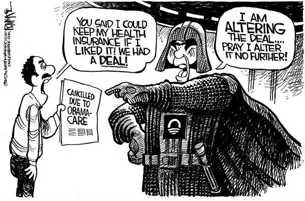 Rick McKee - The Augusta Chronicle - Darth Obama - English - Obama, Darth Vader, Star Wars, Obamacare, health care