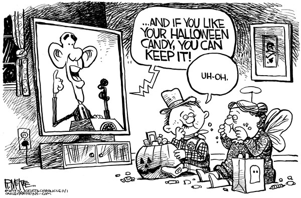 Rick McKee - The Augusta Chronicle - Obama Candy - English - Obamacare, Halloween, candy, Obama