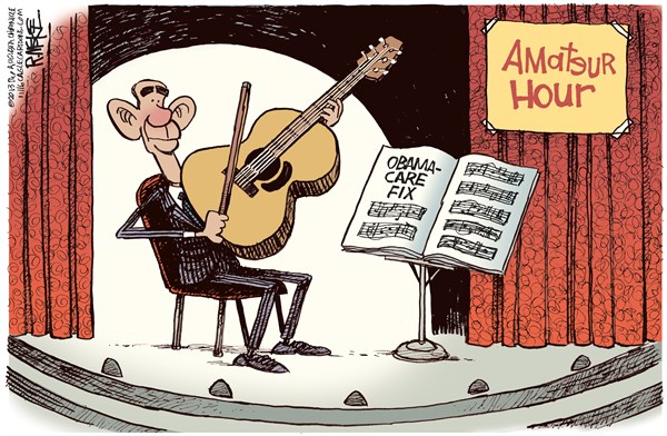 Rick McKee - The Augusta Chronicle - Amateur Hour COLOR - English - Obama, Obamacare, fix, health care, reform