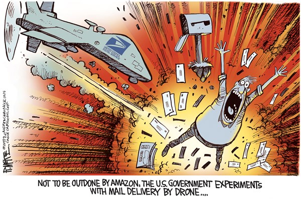 Rick McKee - The Augusta Chronicle - USPS Drone COLOR - English - Amazon, Drone, Postal Service, mail, delivery
