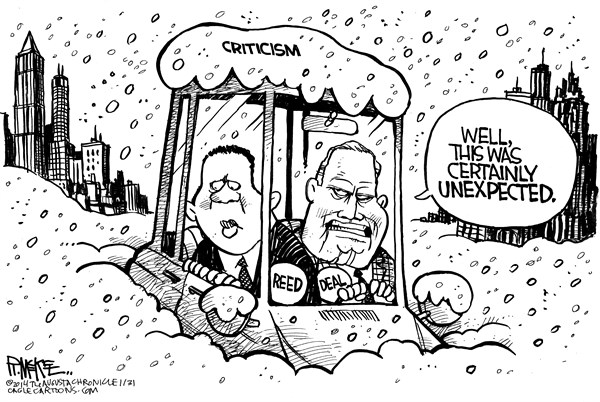 Rick McKee - The Augusta Chronicle - Unexpected Atlanta Snow - English - Atlanta, snow, Kasim Reed, Nathan Deal