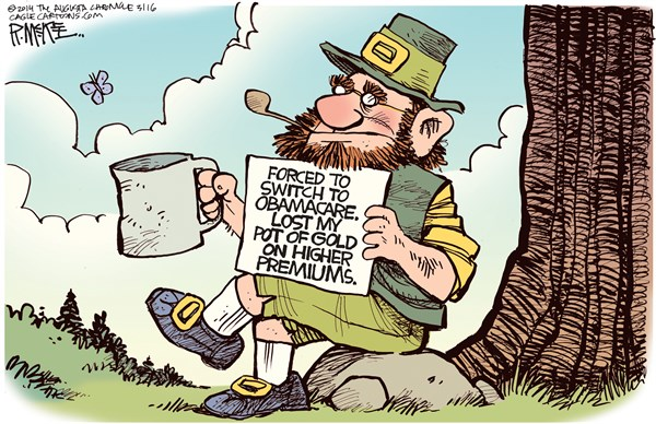Obamacare Leprechaun © Rick McKee,The Augusta Chronicle,Obamacare, Leprechaun, St Patricks Day