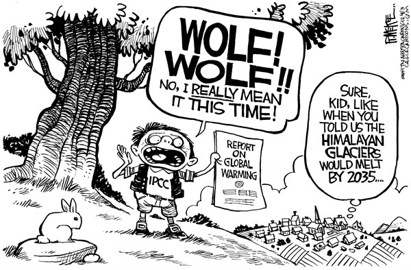 Rick McKee - The Augusta Chronicle - IPCC Cries Wolf - English - IPCC, global warming, climate change, Himalayan glaciers