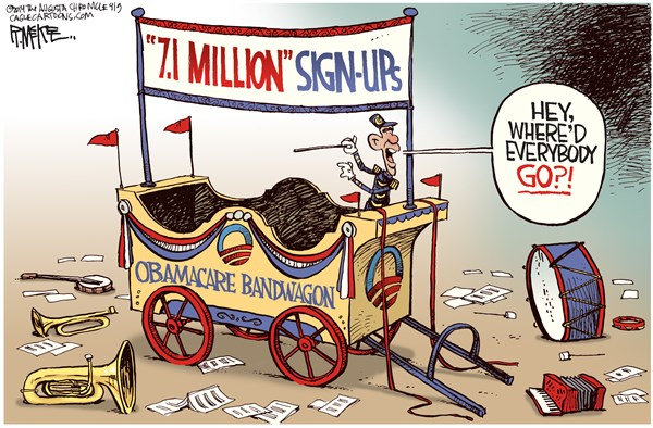 Obamacare Bandwagon © Rick McKee,The Augusta Chronicle,Obama, Obamacare, Democrats, midterm elections, health care, Obamacare