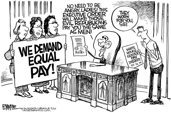 Rick McKee - The Augusta Chronicle - Equal Pay - English - Equal pay, women, war on women, income, Obama