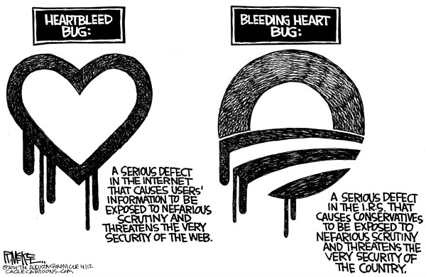 Rick McKee - The Augusta Chronicle - Heartbleed Bug - English - Heartbleed, internet, web, Obama, IRS, Internal Revenue Service, targeting, conservatives, Tea Party