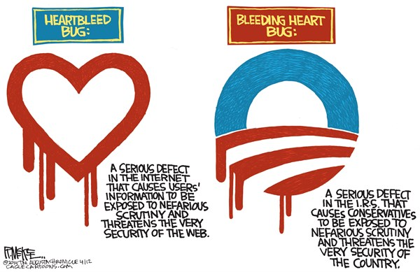 Rick McKee - The Augusta Chronicle - Heartbleed Bug COLOR - English - Heartbleed, internet, web, Obama, IRS, Internal Revenue Service, targeting, conservatives, Tea Party