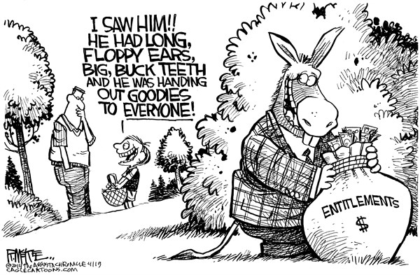 Rick McKee - The Augusta Chronicle - Easter Donkey - English - Easter, Democrats, entitlements
