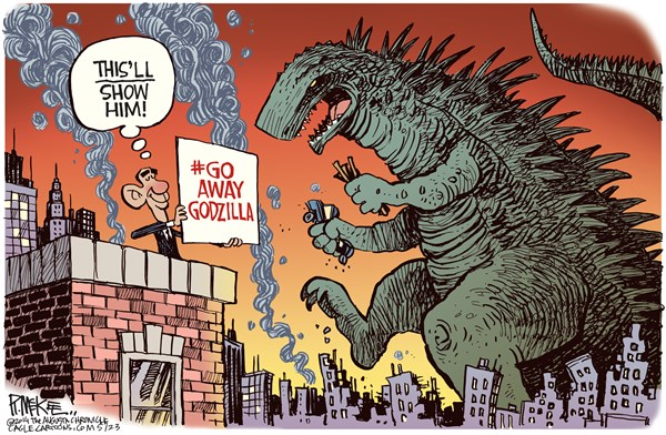 Rick McKee - The Augusta Chronicle - Hashtag Godzilla COLOR - English - Hashtag, Diplomacy, Godzilla, Obama