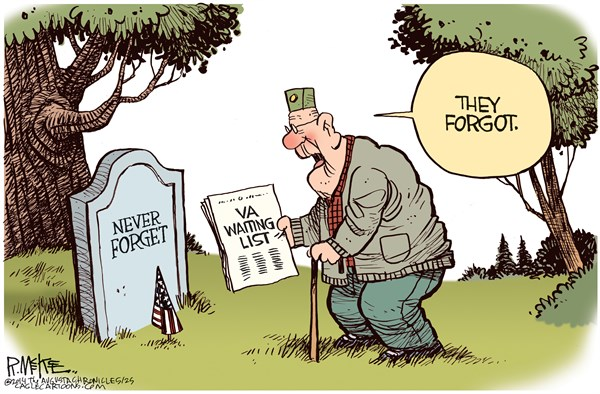 Rick McKee - The Augusta Chronicle - VA Memorial Day  COLOR - English - VA, Veterans Administration, Hospitals, Health care, Veterans, Memorial Day
