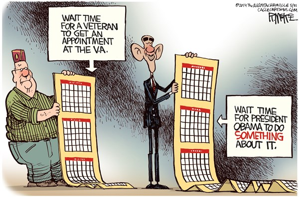 Rick McKee - The Augusta Chronicle - VA Waiting Times COLOR - English - VA, hospitals, Obama, waiting times