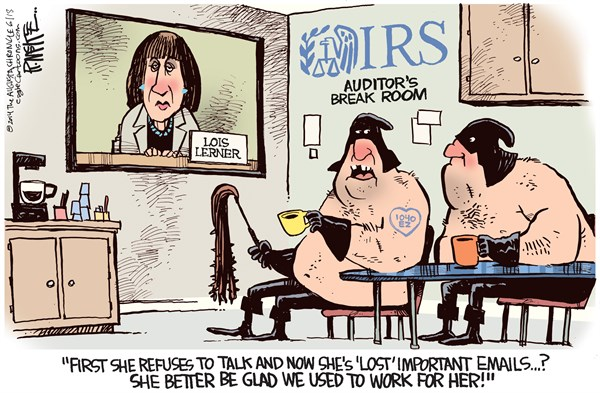 Rick McKee - The Augusta Chronicle - Lois Lerner Emails COLOR - English - Lois Lerner, IRS, targeting, emails, Obama, Tea Party, conservative