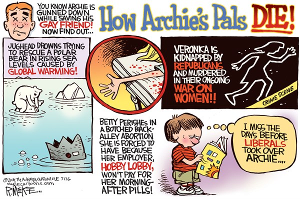 Archie Pals © Rick McKee,The Augusta Chronicle,Archie, Global Warming, Hobby Lobby, birth control, Gun Control, liberals