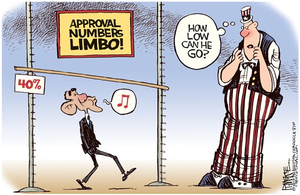 Obama Poll Limbo © Rick McKee,The Augusta Chronicle,Obama, approval, rating, poll, limbo