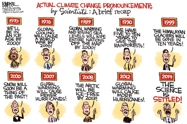 Scientific Pronouncements © Rick McKee,The Augusta Chronicle,climate change, global warming, global cooling, hurricanes, weather, environment