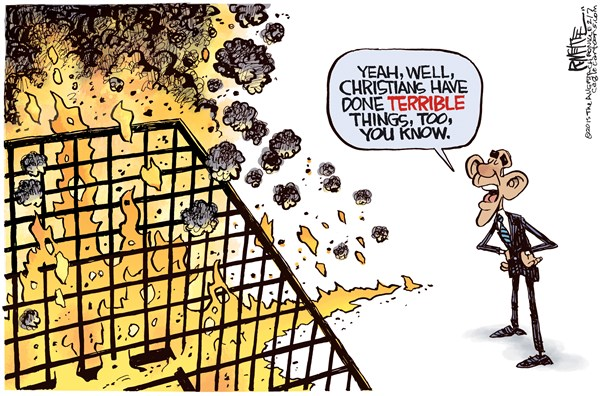 Terrible Christians © Rick McKee,The Augusta Chronicle,Christians, Christianity, Obama, National Prayer Breakfast, Islam, Islamic terrorism