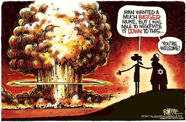 Iran Nuke © Rick McKee,The Augusta Chronicle,Iran, Israel, Netanyahu, Obama, nuke, nuclear, weapons