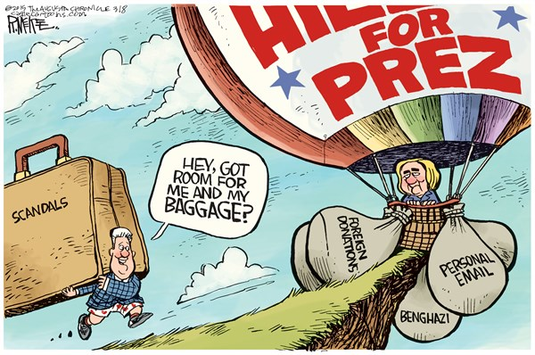 Hillary Baggage © Rick McKee,The Augusta Chronicle,Hillary, Bill Clinton, baggage, 2016, presidential race, email, benghazi, foreign donations