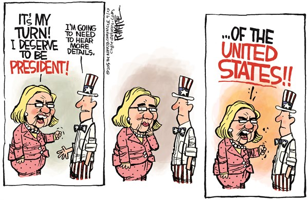 Hillary Details © Rick McKee,The Augusta Chronicle,Hillary, Clinton, 2016, presidential, election