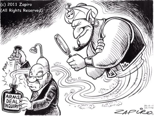 Genie in a Bottle © Zapiro,Arms Deal,inquiry,genie