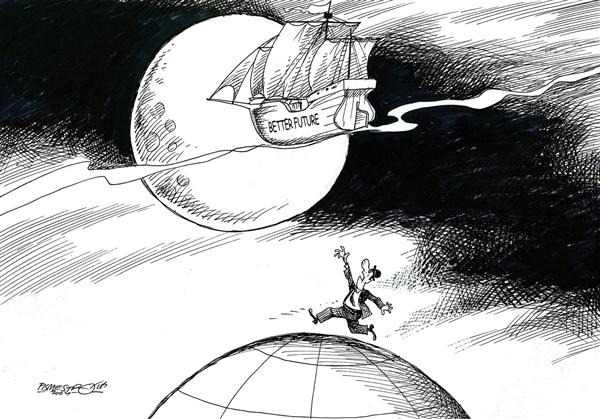 Petar Pismestrovic - Kleine Zeitung, Austria - better future - English - life, work, future, world, earth, moon, dreams, wishes, dream, wish, boat, ship, better future, future