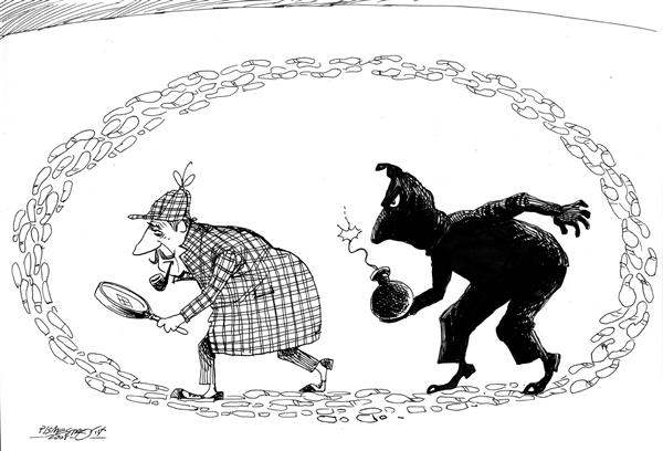 Petar Pismestrovic - Kleine Zeitung, Austria - sherlock holmes against terror - English - tony, blair, terror, great, britain, london, europe, bush, shelock holmes, terror, circle, tracking, terrorist, bomb, bombs
