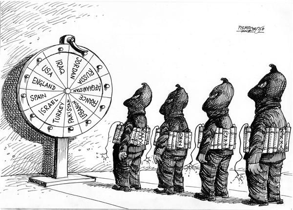Petar Pismestrovic - Kleine Zeitung, Austria - bloody roulette - English - terror, war, usa, middle east, israel, iraq, spain, al qaeda, suicide bombers, bomber, terrorist, terrorism, bloody roulette, roulette