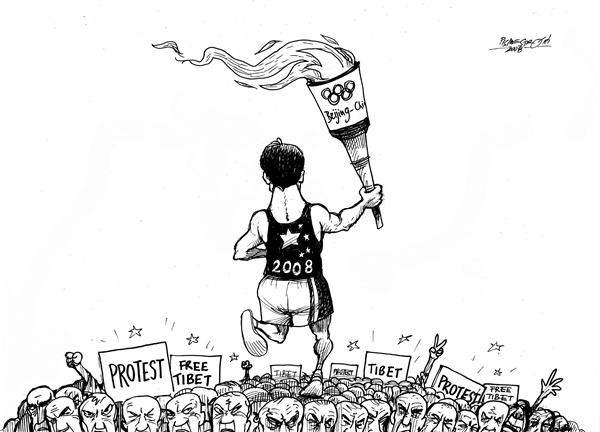 Olympic flame © Petar Pismestrovic,Kleine Zeitung, Austria,Olymic Game, Beijing, China, Sport, Flame, Protest, Tibet