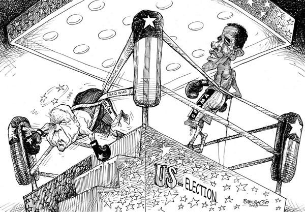 Petar Pismestrovic - Kleine Zeitung, Austria - Boxers - English - Barack Obama ,John McCain,USA,Elections,Financial Crisis,Iraq War